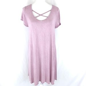 Ultra Flirt Shift Dress Short Sleeve Strappy Pink